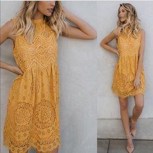 Mustard Lace/Crochet Spring Dress